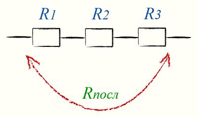 Формула последовательного соединения резисторов